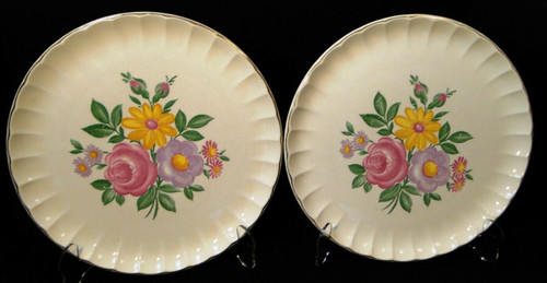"W S George Bolero Romance Dinner Plates 10 1/4"" Pink Purple Set of 2 Excellent"