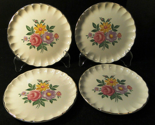 """W S George Bolero Romance Bread Plates 6 1/4"""" Pink Purple Set of 4 