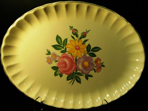 "W S George Bolero Romance Large Platter 13 1/2"" Pink Purple Excellent"