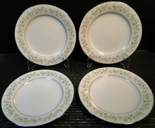 "Noritake Savannah Salad Plates 8 1/4"" 2031 Green Floral Set of 4 Excellent"