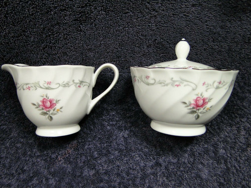 Fine China of Japan Royal Swirl Creamer Sugar Set with Lid Pink Rose | DR Vintage Dinnerware and Replacements