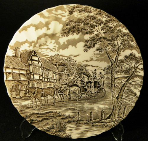 "Myott Royal Mail Dinner Plate 10"" Brown Staffordshire England 