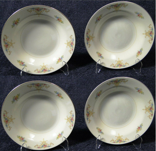 """Homer Laughlin Eggshell Nautilus Rochelle Soup Bowls 8 1/4"""" Set of 4 