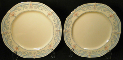 "Noritake Crown Flower Dinner Plates 7324 10 1/2"" Ivory China Set of 2 Excellent"