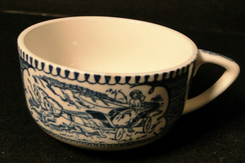 Royal China Currier Ives Blue White Cup Scroll Handle Rare Excellent