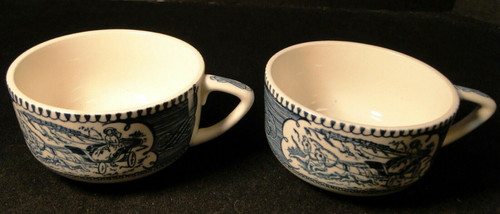 Royal China Currier Ives Blue White Cups Scroll Handle Rare Set of 2 Excellent