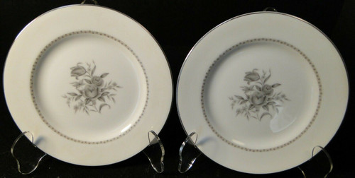 """Rose China Grafton Bread Plates 6 3/4"""" Gray Flowers Japan Set of 2 
