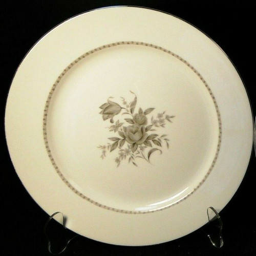 "Rose China Grafton Dinner Plate 10 5/8"" Gray Flowers Japan Excellent"