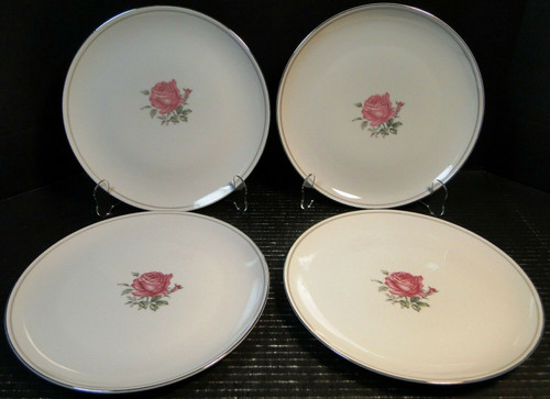 "Fine China of Japan Imperial Rose Dinner Plates 10 1/4"" Set of 4 