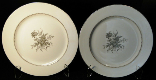 "Rose China Grafton Dinner Plates 10 5/8"" Gray Flowers Japan Set of 2 Excellent"