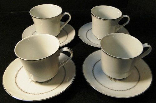 Rose China Grafton Tea Cup Saucer Sets Gray Flowers Japan 4 Excellent