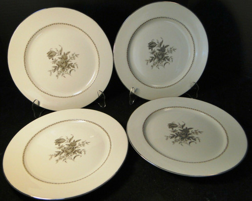 "Rose China Grafton Dinner Plates 10 5/8"" Gray Flowers Japan Set of 4 Excellent"