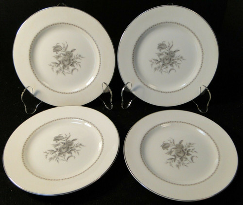 "Rose China Grafton Bread Plates 6 3/4"" Gray Flowers Japan Set of 4 Excellent"
