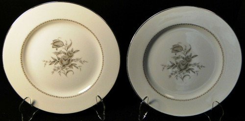 "Rose China Grafton Salad Plates 7 3/4"" Gray Flowers Japan Set of 2 
