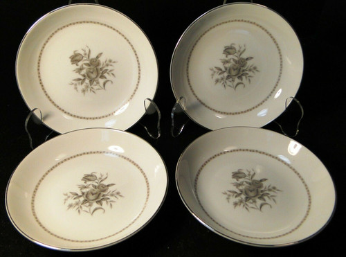 "Rose China Grafton Berry Bowls 6"" Gray Flowers Japan Fruit Set of 4 Excellent"