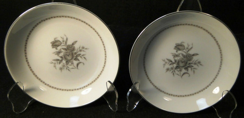 """Rose China Grafton Berry Bowls 6"""" Gray Flowers Japan Fruit Set of 2 