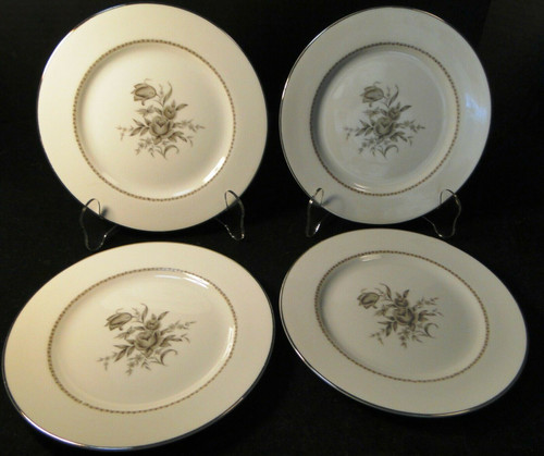 """Rose China Grafton Salad Plates 7 3/4"""" Gray Flowers Japan Set of 4 