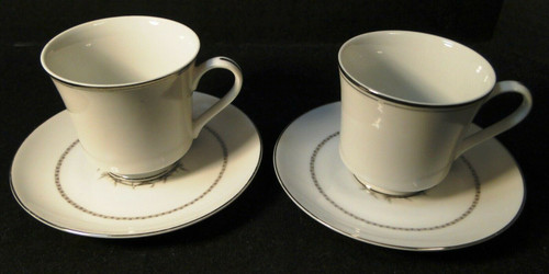 Rose China Grafton Tea Cup Saucer Sets Gray Flowers Japan 2 Excellent