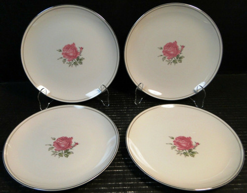 "Fine China of Japan Imperial Rose Salad Plates 7 7/8"" Set of 4 