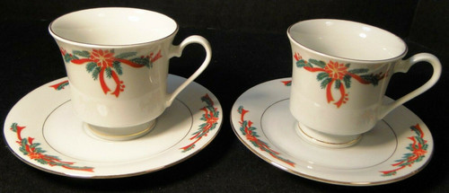 Poinsettia Ribbon Tea Cup Saucer Sets Christmas Fine China Tienshan 2 | DR Vintage Dinnerware and Replacements