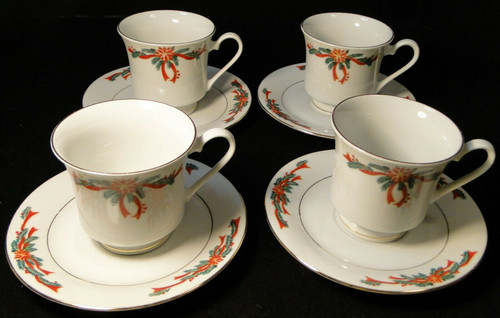 Poinsettia Ribbon Tea Cup Saucer Sets Christmas Fine China Tienshan 4 Excellent