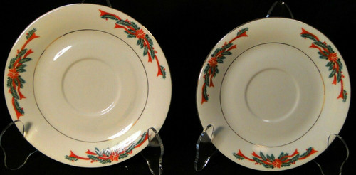 Poinsettia & Ribbon Saucers Christmas Fine China Tienshan Set of 2 Excellent