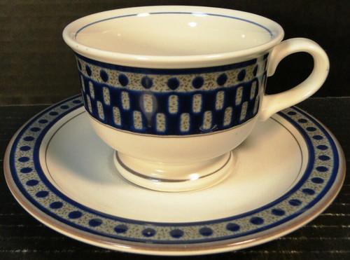 Mikasa Aztec Blue Cup Saucer Set CB009 Potters Touch Excellent