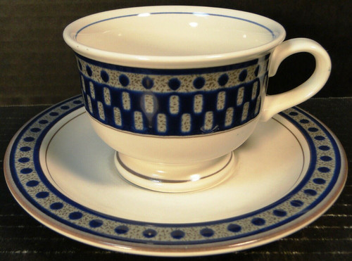 Mikasa Aztec Blue Cup Saucer Set CB009 Potters Touch | DR Vintage Dinnerware and Replacements