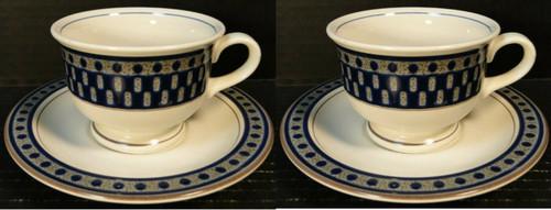 Mikasa Aztec Blue Cup Saucer Sets CB009 Potters Touch 2 Excellent