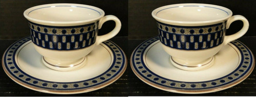 Mikasa Aztec Blue Cup Saucer Sets CB009 Potters Touch 2 | DR Vintage Dinnerware and Replacements