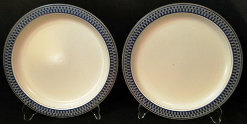 "Mikasa Aztec Blue Salad Plates 8 1/4"" CB009 Potters Touch Set of 2 