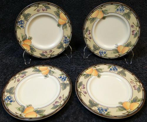 "Mikasa Garden Harvest Intaglio Saucers Bread Plates 6 1/2"" CAC29 Set 4 Excellent"