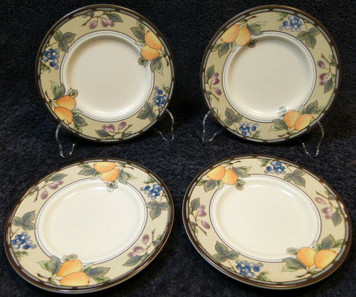 "Mikasa Garden Harvest Intaglio Saucers Bread Plates 6 1/2"" CAC29 Set 4 