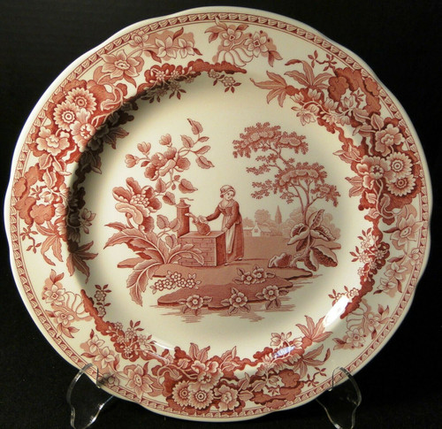 Spode Archive Collection Girl At Well Dinner Plate 10 3/8 Georgian Cranberry Exc