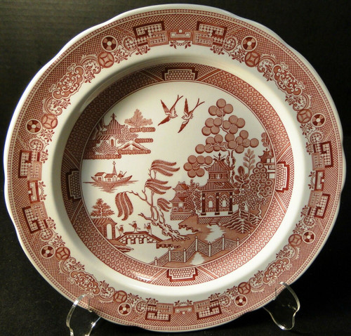 Spode Archive Collection Willow Dinner Plate 10 3/8 Georgian Cranberry | DR Vintage Dinnerware and Replacements