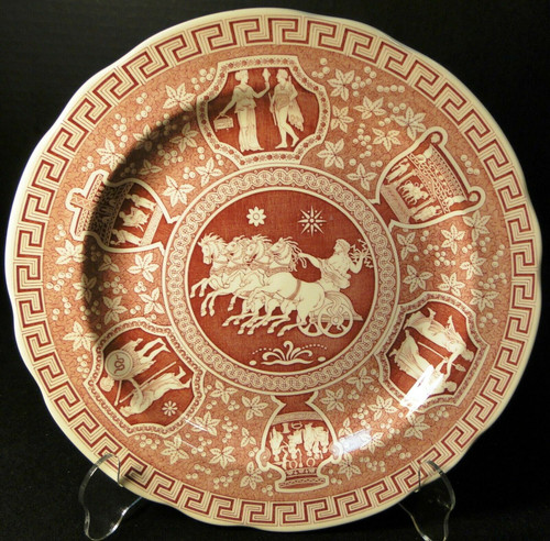 Spode Archive Collection Greek Dinner Plate 10 3/8 Traditions Cranberry   DR Vintage Dinnerware and Replacements