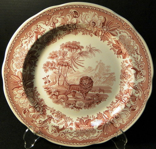 "Spode Archive Collection Aesops Fables Dinner Plate 10 3/8"" Cranberry Excellent"