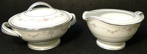 Noritake Fairmont Creamer Sugar with Lid Set 6102 Pink Roses | DR Vintage Dinnerware and Replacements