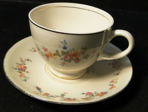 Homer Laughlin Annette Tea Cup Saucer Set N1705 Eggshell Nautilus | DR Vintage Dinnerware and Replacements
