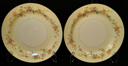 """Homer Laughlin Annette Luncheon Plates 9 1/4"""" N1705 Eggshell Set of 2 