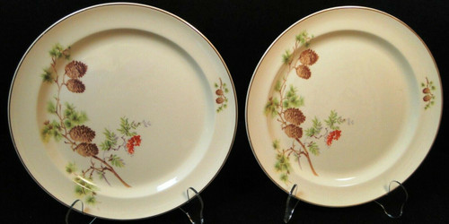 """Taylor Smith Taylor Pine Cone Bread Plates 6 1/2"""" TST 1649 Set of 2 Excellent"""