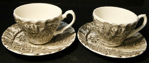 Myott Royal Mail Tea Cup Saucer Sets Brown Staffordshire England 2 | DR Vintage Dinnerware and Replacements