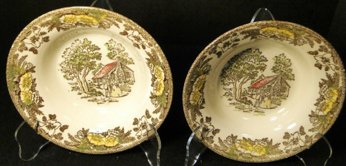 "Royal China Fair Oaks Cereal Bowls 6 3/8"" Yellow Floral Set of 2 Rare Excellent"