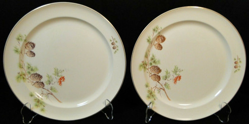 """Taylor Smith Taylor Pine Cone Dinner Plates 10 1/8"""" TST 1649 Set of 2 