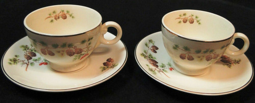 Taylor Smith Taylor Pine Cone Tea Cup Saucer Sets TST 1649 2 Excellent