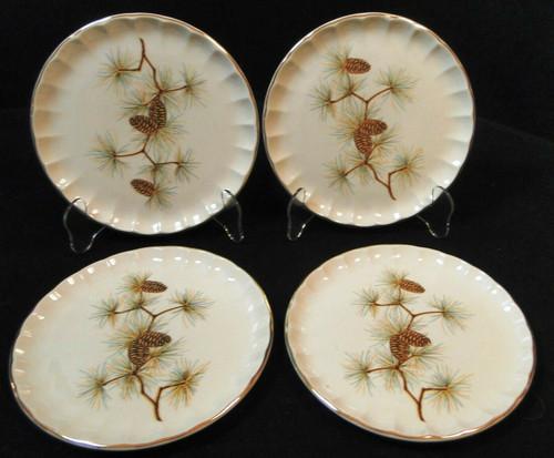 """W S George Bolero Pinecone Salad Plates 7 1/4"""" Pine Needles Set of 4 Excellent"""