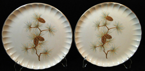 "W S George Bolero Pinecone Dinner Plates 10 1/4"" Pine Needles Set of 2 