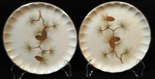 """W S George Bolero Pinecone Salad Plates 7 1/4"""" Pine Needles Set of 2 Excellent"""