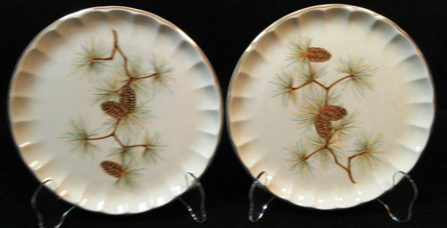 "W S George Bolero Pinecone Salad Plates 7 1/4"" Pine Needles Set of 2 