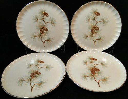 """W S George Bolero Pinecone Dinner Plates 10 1/4"""" Pine Needles Set of 4 Excellent"""